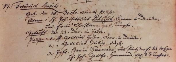 Moritz Palisch baptism record Trinity Altenburg