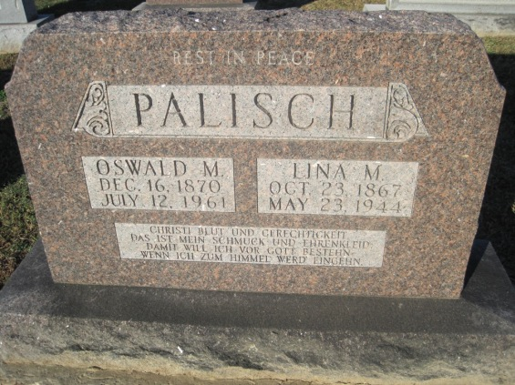 Oswald and Lina Palisch gravestone Immanuel