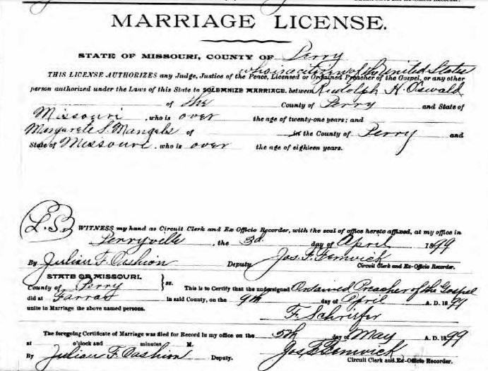 Oswald Mangels marriage license