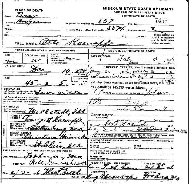 Otto Kaempfe death certificate