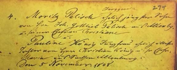 Palisch Koenig marriage record Immanuel Altenburg