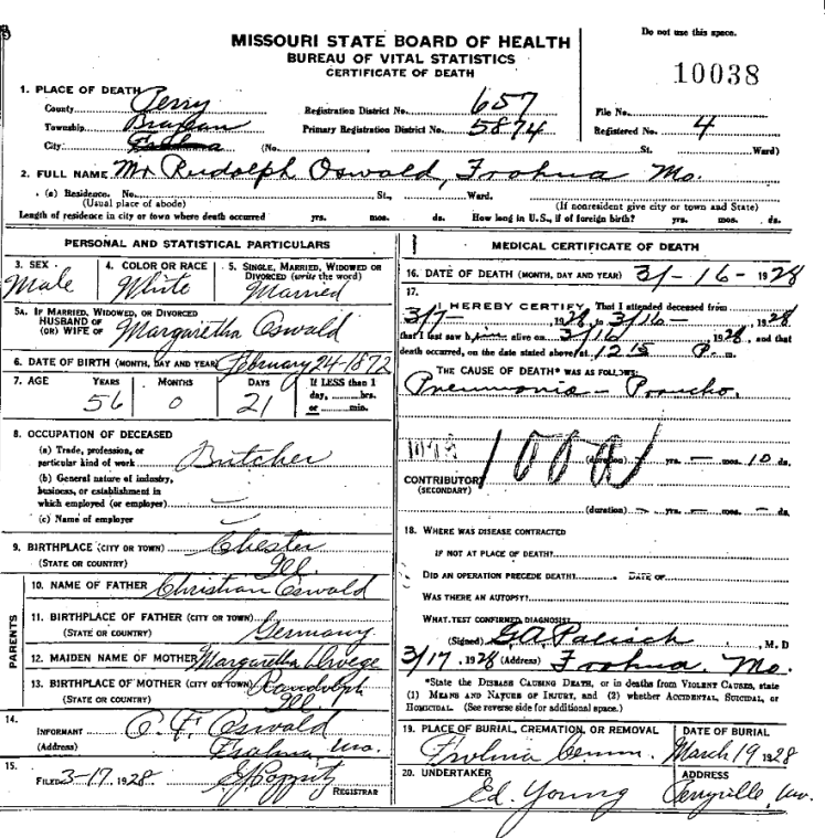 Rudolph Oswald death certificate