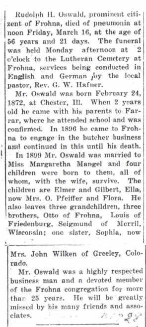 Rudolph Oswald obituary