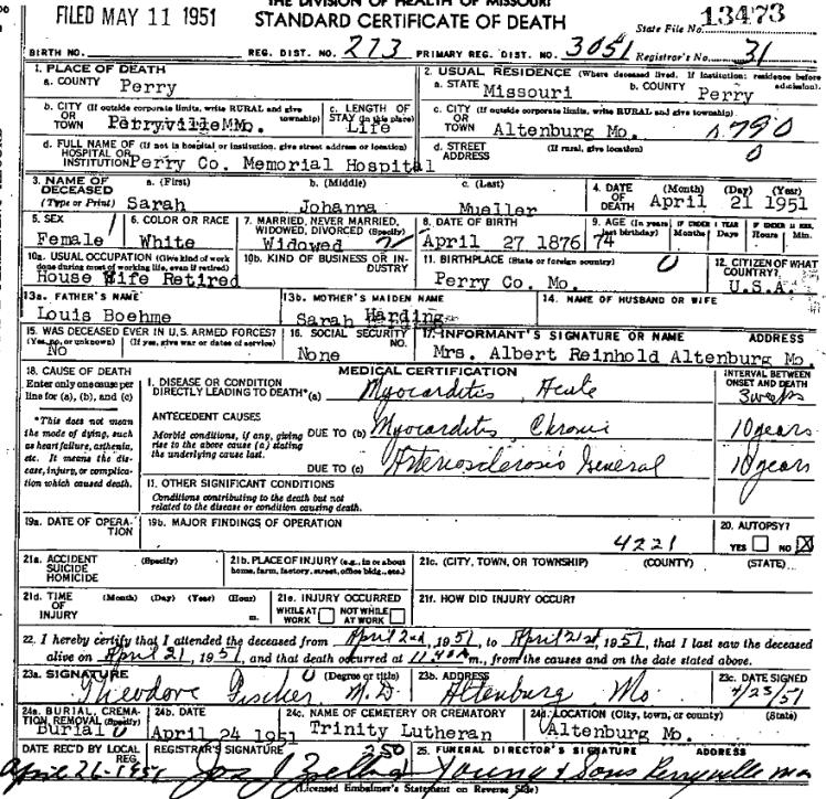 Sarah Mueller death certificate