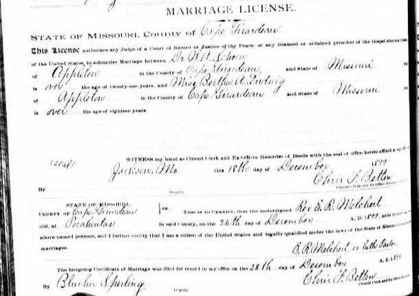 Schoen Ludwig marriage license