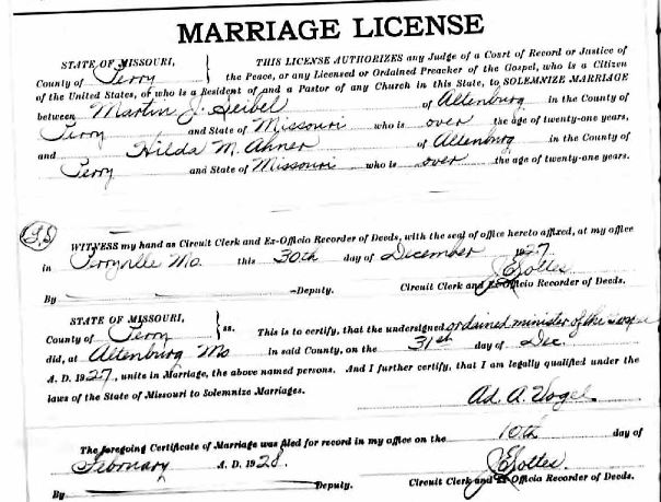 Seibel Ahner marriage license