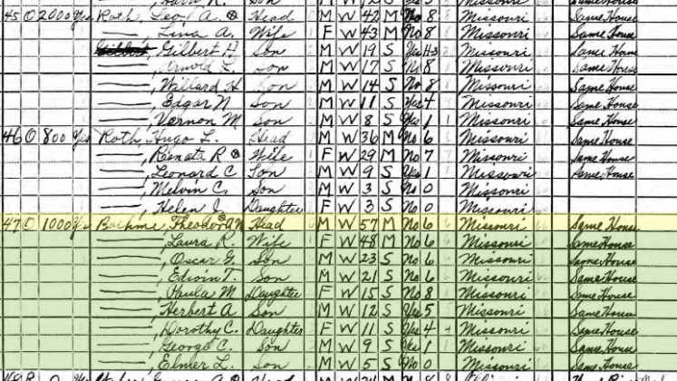 Theodore Boehme and Roths 1940 census Wittenberg