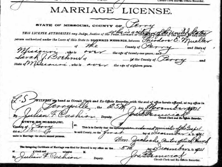 Theodore Mueller Sarah Boehme marriage license