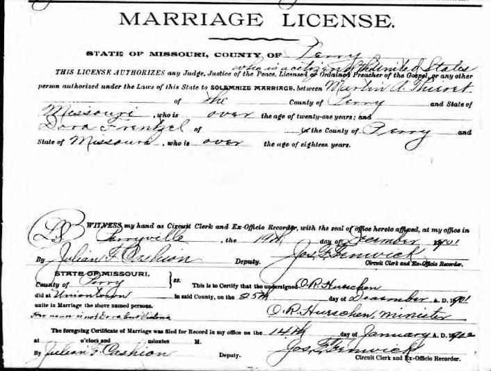 Thieret Frentzel marriage license
