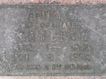 Anita Grebing gravestone Concordia Frohna