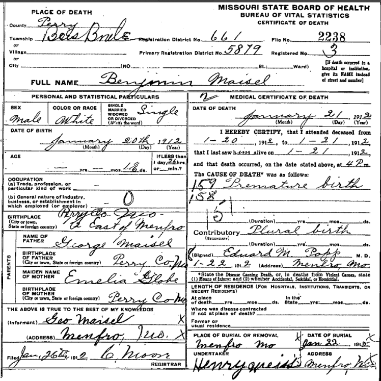 Benjamin Maisel death certificate