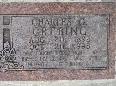 Charles Grebing gravestone Concordia Frohna