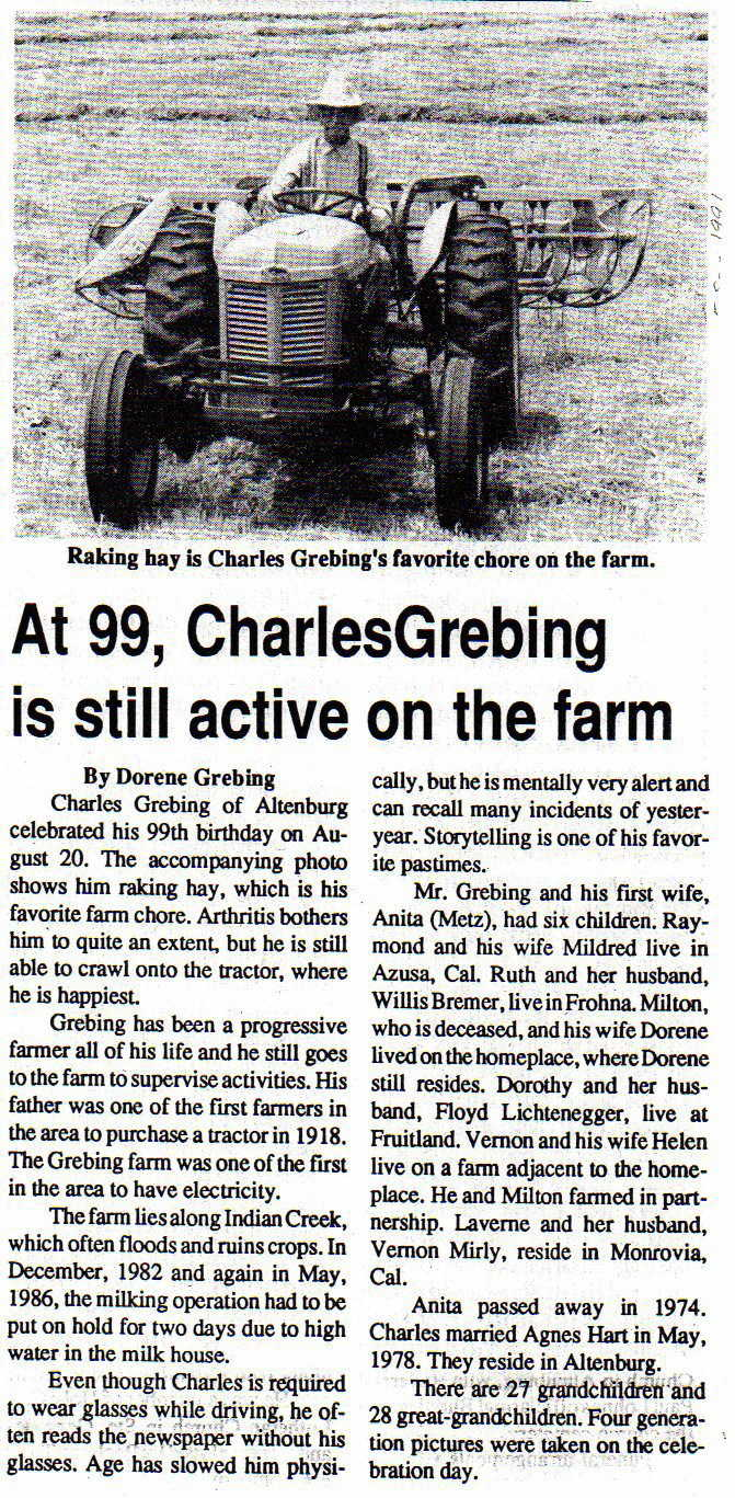 Charlie Grebing newspaper article