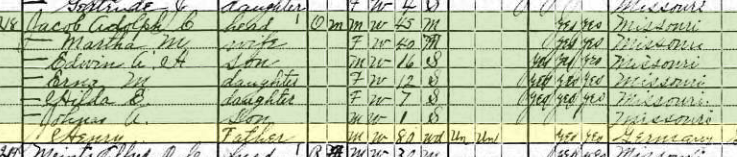 Henry Jacob 1920 census Perry County