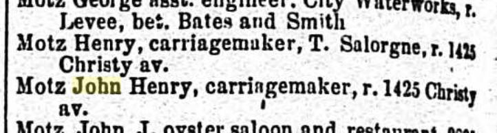 Henry Motz city directory St. Louis 1867