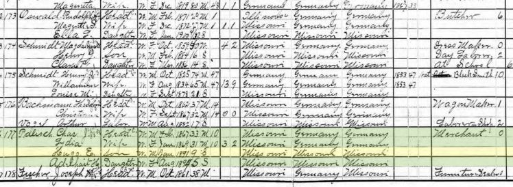 Hugo Palisch 1900 census Frohna