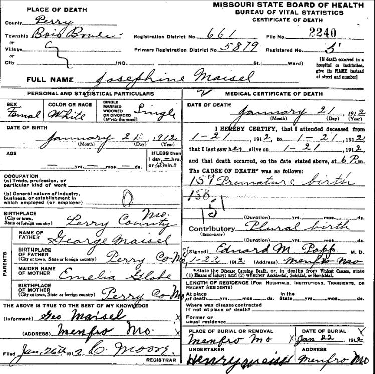 Josephine Maisel death certificate