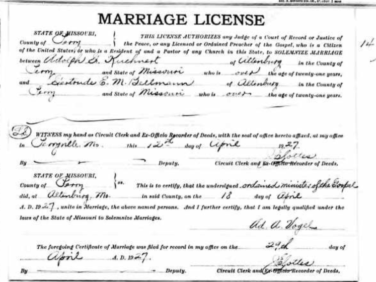 Kuehnert Bellmann marriage license