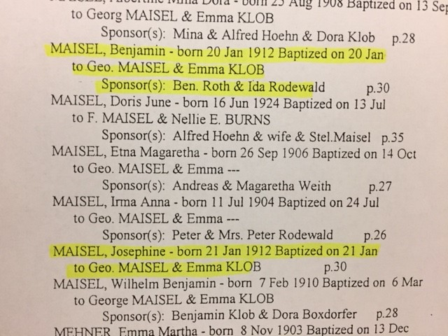 Maisel baptism records Point Rest