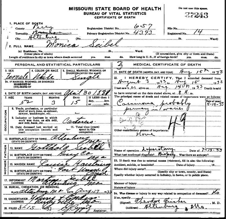Monica Seibel death certificate