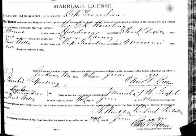 Rev. G H Haertling Koenig marriage license