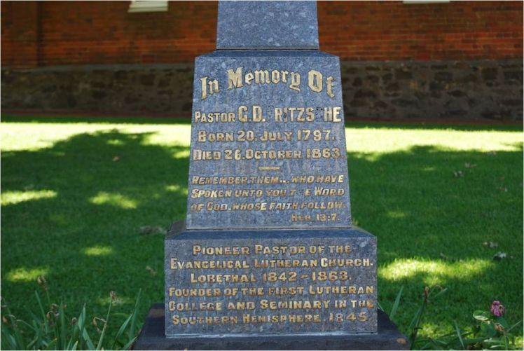 Rev. Gotthard Daniel Fritsche memorial Australia
