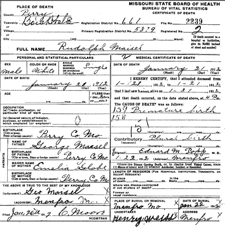 Rudolph Maisel death certificate