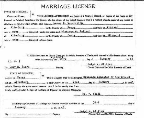 Wunderlich Palisch marriage record