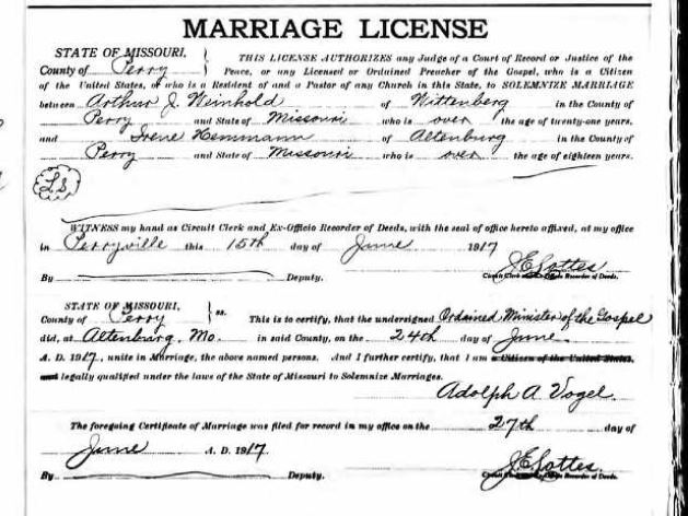 Arthur Weinhold Irene Hemmann marriage license