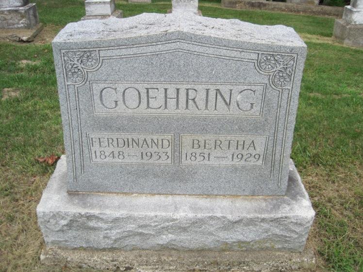 Ferdinand and Bertha Goehring gravestone Concordia Frohna