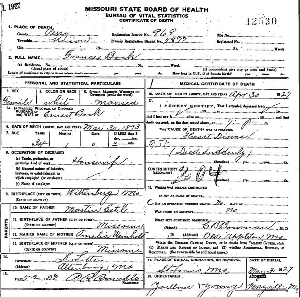Frances Estel Bock death certificate