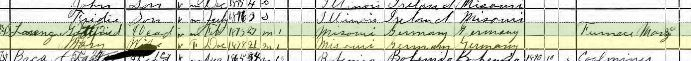 Gottfried Lorenz 1900 census Collinsville IL