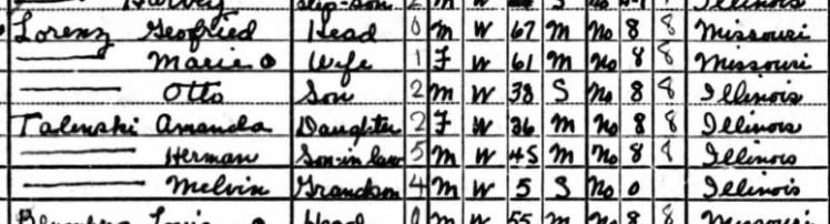 Gottfried Lorenz 1940 census Collinsville IL
