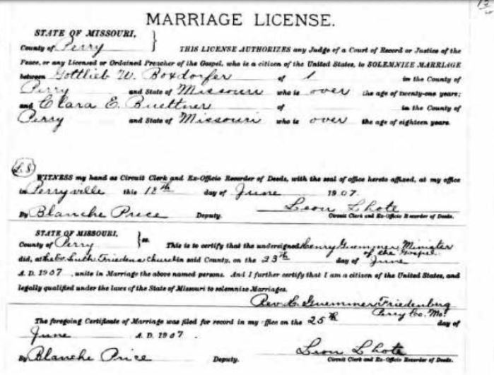 Gottlieb Boxdorfer Buettner marriage license