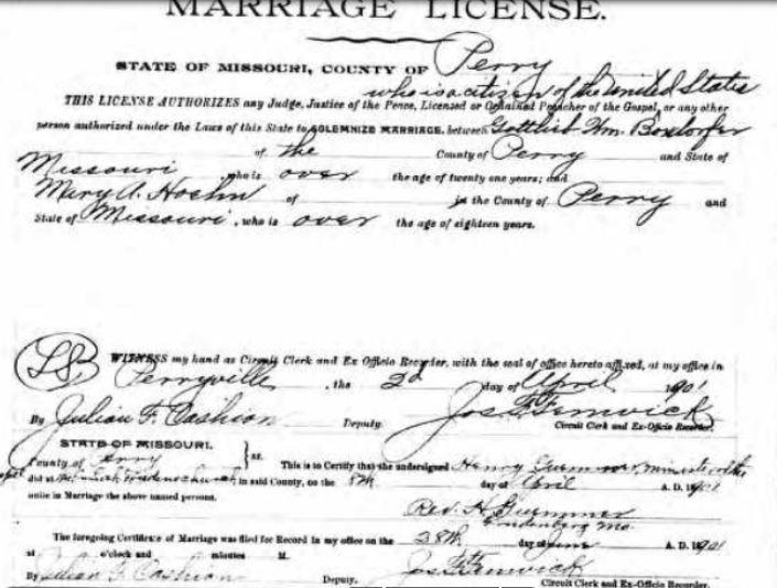 Gottlieb Boxdorfer Hoehn marriage license