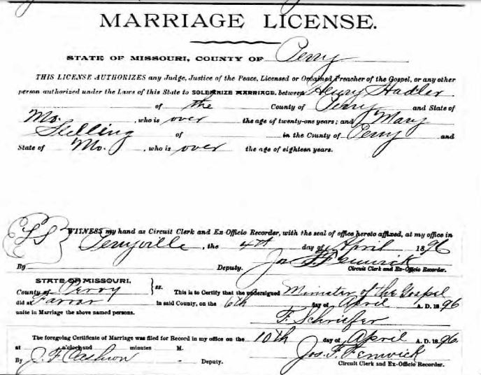 Hadler Stelling marriage record