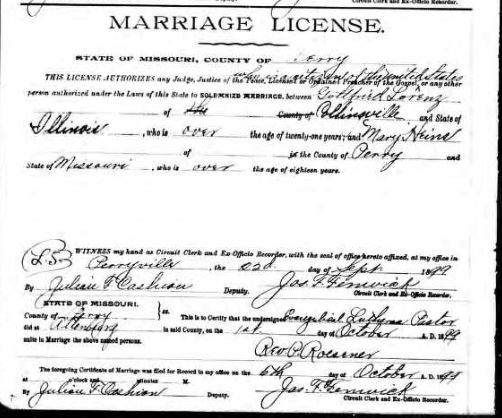 Lorenz Heins marriage license