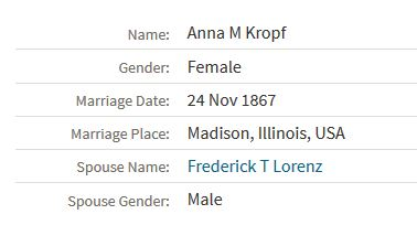 Lorenz Kropf Illinois marriage record
