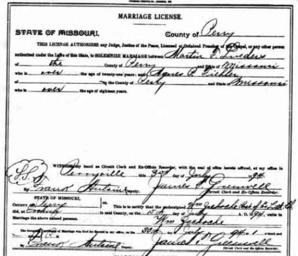 Lueders Fiehler marriage license