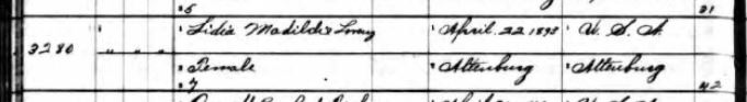 Lydia Lorenz birth record 1