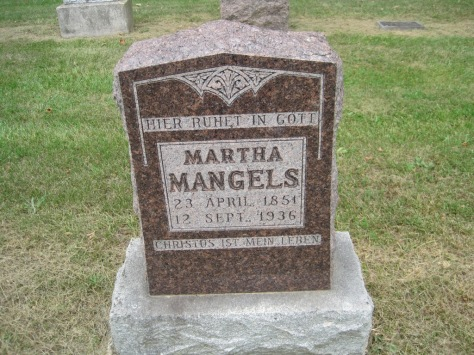 Metta Martha Mangels gravestone Concordia Frohna