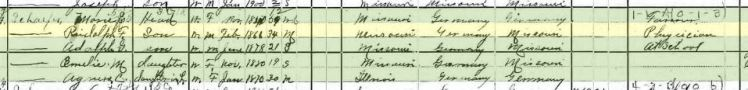 Rudolph Schaefer 1900 census Appleton MO