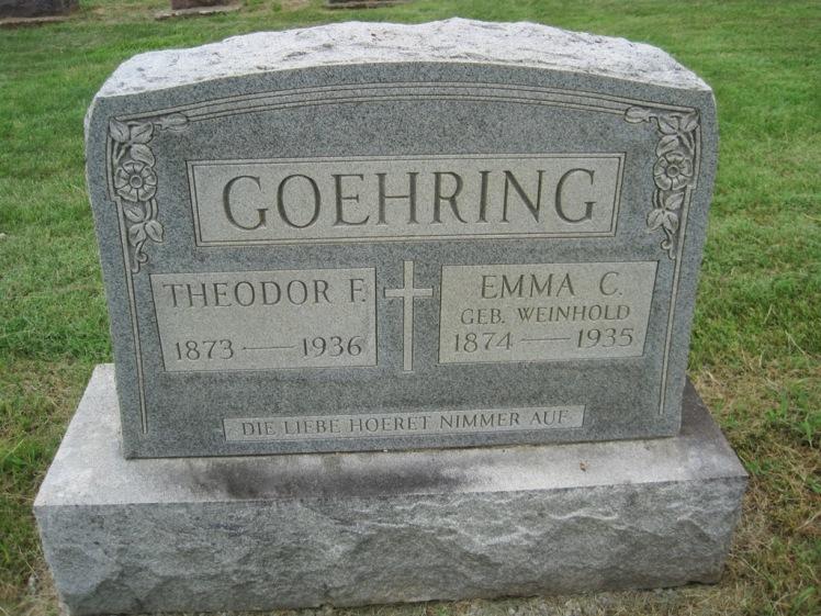 Theodore and Emma Goehring gravestone Concordia Frohna