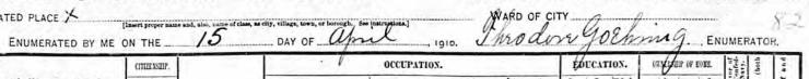 Theodore Goehring enumerator 1910 census