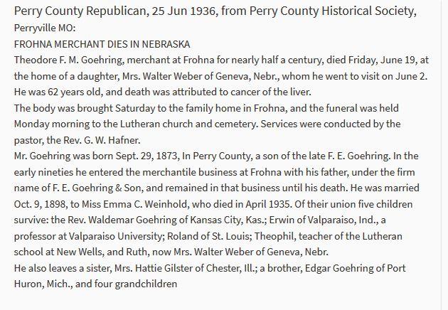 Theodore Goehring obituary