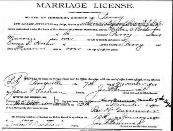 William Boxdorfer Emma Hoehn marriage license