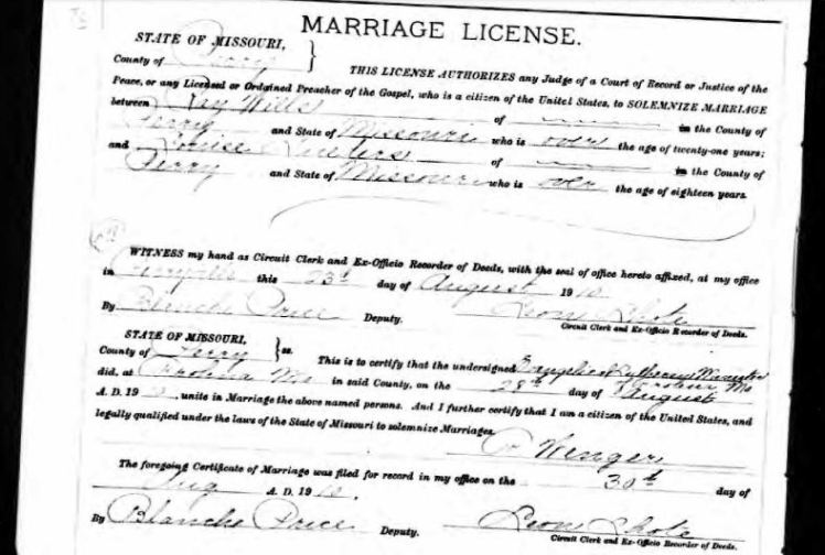 Wills Lueders marriage license