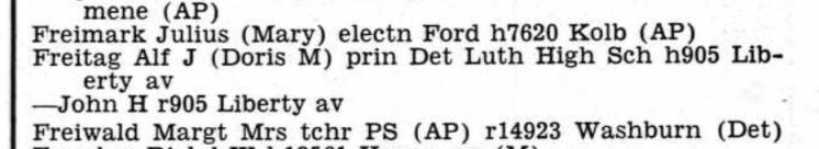 Alfred Freitag city directory Detroit MI 1953