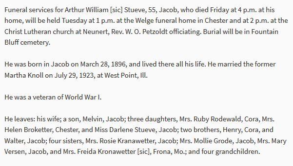 Arthur Stueve obituary