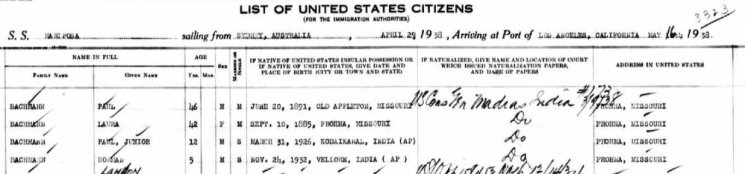 Bachmann family passenger list Mariposa 1938